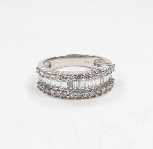 14k white gold, baguette, round cut diamond half eternity band ring