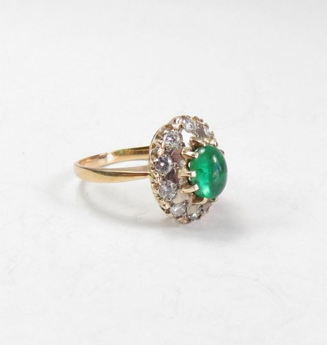 Vintage, Russian, 14k gold, natural emerald, diamond ring