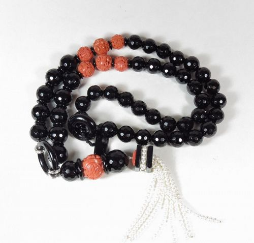 18k gold, natural carved red coral, onyx, pearl tassel necklace