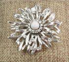 Retro 14k white gold, 2.5ctw diamond, opal brooch, pin