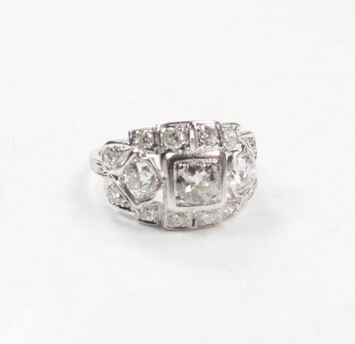 Antique, Deco, platinum, 1.5ctw diamond engagement ring