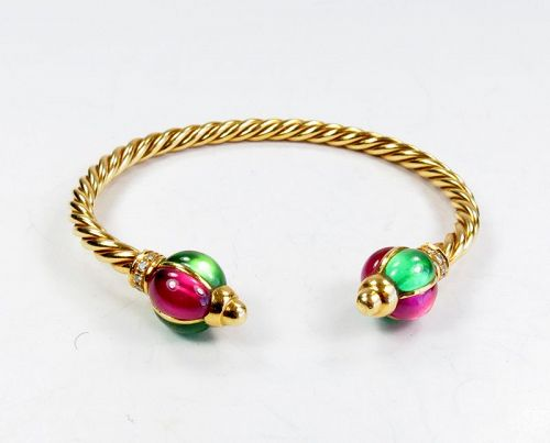 Roberto Legnazzi 18k gold, ruby, emerald bangle bracelet