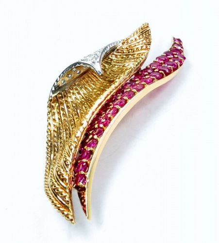 Deco, 18k gold, platinum 5ctw natural ruby, diamond brooch, pin