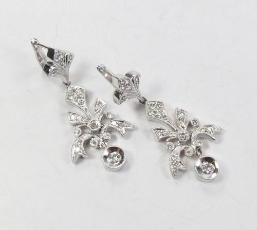 Estate, 18k white gold, diamond Fleur de Lis dangle earrings