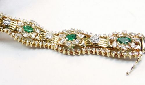 14k yellow gold, 9.2ctw diamond, 3ctw emerald statement bracelet