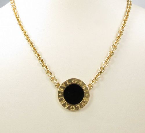 Bulgari, Bvlgari, 18k yellow gold, onyx, pendant, necklace