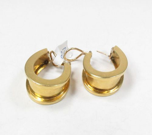 Vintage, large 18k yellow gold huggie earrings