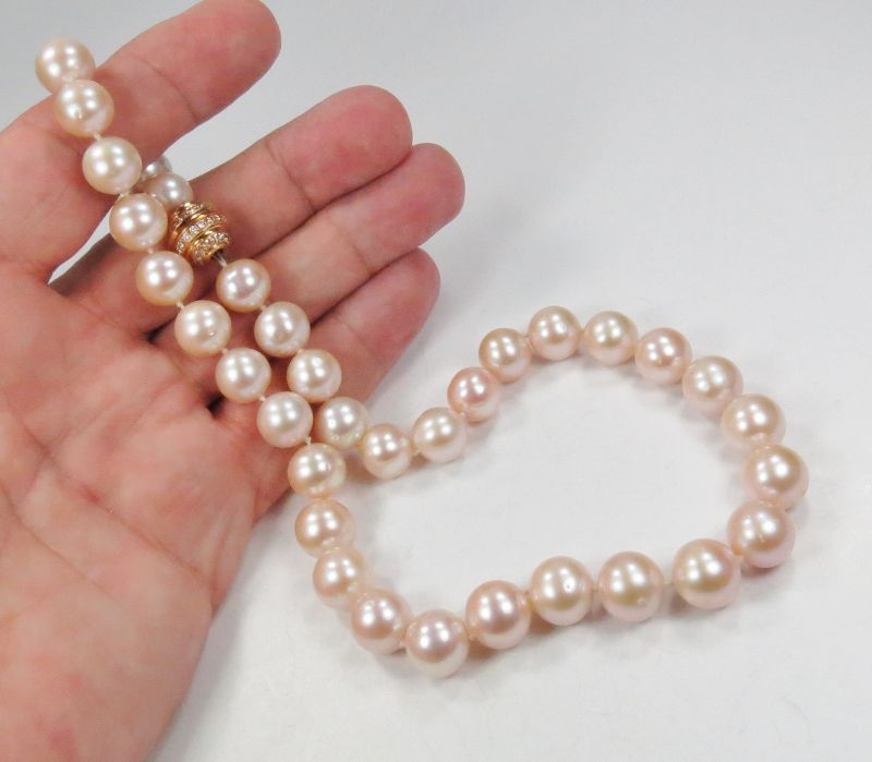 Rare, pink South Sea pearl necklace, 14k gold diamond clasp