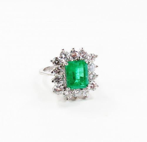 18k white gold, 3ctw emerald, 2ctw diamond wedding ring