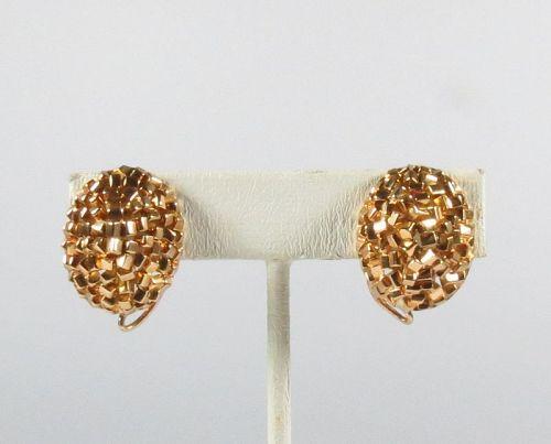 Modernist, signed Castro, 18k yellow gold earrings