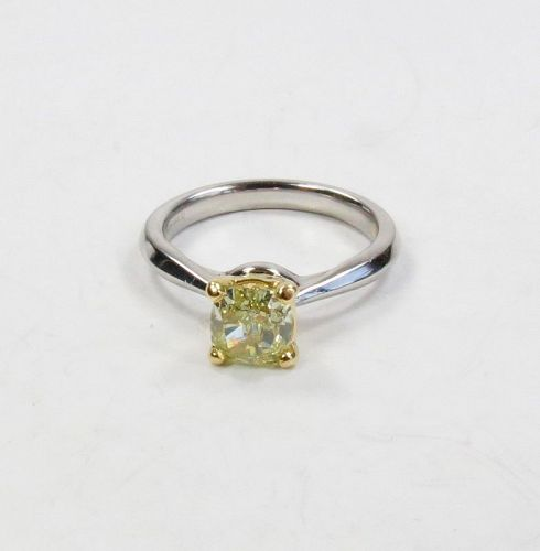 Platinum, 1.11ctw fancy yellow diamond engagement ring GIA Certified