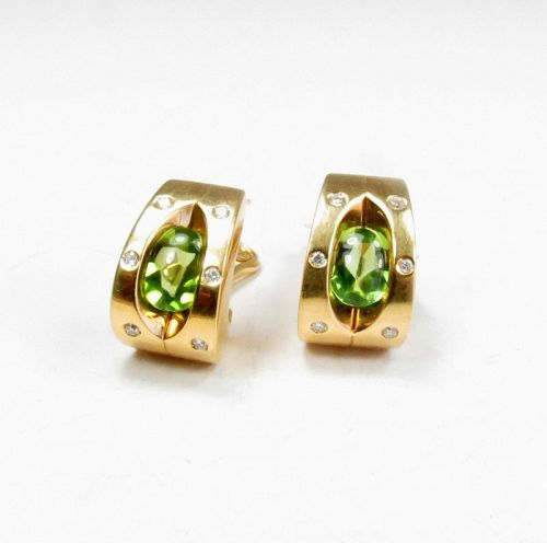 BiBiGi Italy, 18k gold, peridot, diamond huggie earrings