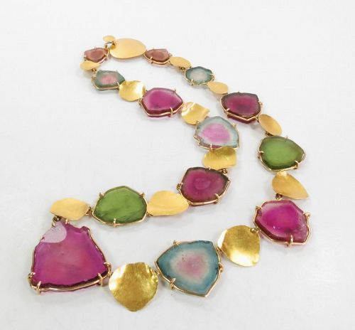 "Signed ""Shaw"" 22k/14k gold tourmaline necklace"