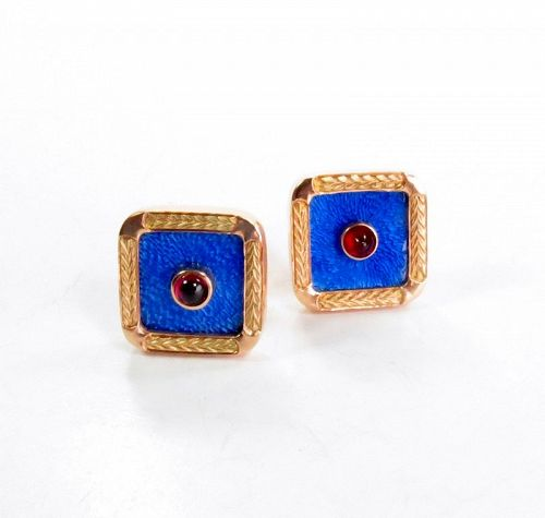 Estate, Russian, 14k rose gold, blue enamel garnet cufflinks