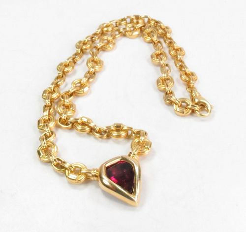 18k gold, rubellite tourmaline necklace from Neiman Marcus