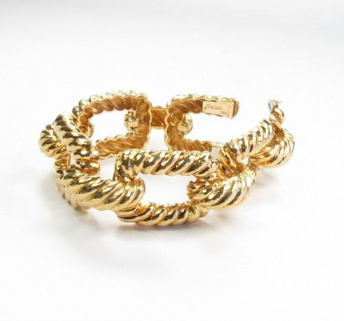 Estate, designer signed, 18k yellow gold link bracelet