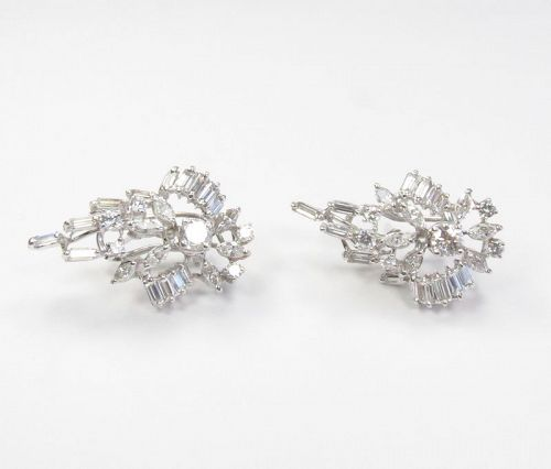 14k white gold, 3 carats baguette, round cut diamond earrings