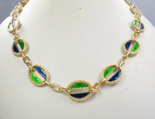 18k yellow gold, blue, green enamel link necklace. Italy