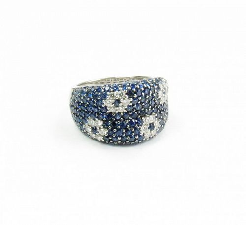 Roberto Coin Fantasia, 18k gold sapphire diamond ring