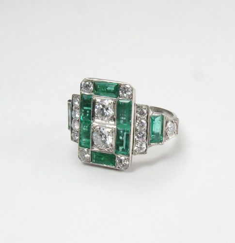 Art Deco style Platinum, emerald, diamond ring