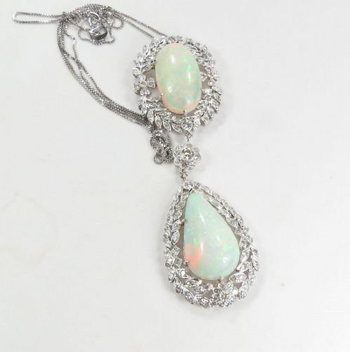 Estate, large 14k white gold, opal diamond necklace