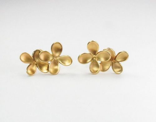 Angela Cummings 18k yellow gold flower earrings