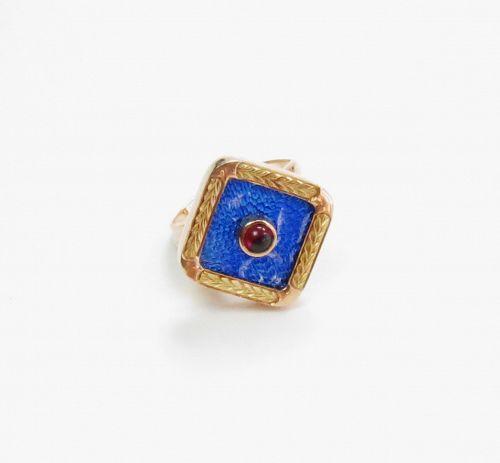 Russian, 14k rose gold, blue enamel, garnet ring