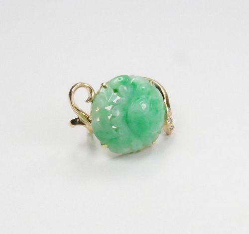 Large, Chinese, 14k gold, carved jade, diamond snake ring