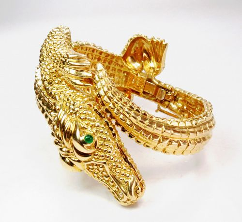 Large, solid, 18k yellow gold alligator bangle bracelet