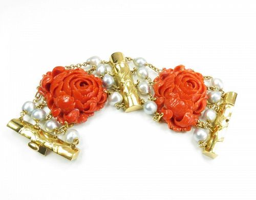 Designer Seaman Schepps 18k gold, carved coral, pearl bracelet