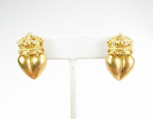 Unsigned, Kieselstein Cord 18k gold crown heart earrings