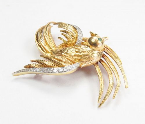 Large, 18k gold, diamond, emerald bird pin brooch