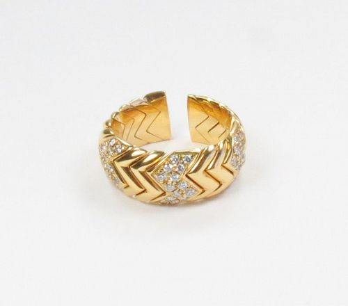 Bulgari, Bvlgari, Spiga 18k gold diamond band ring
