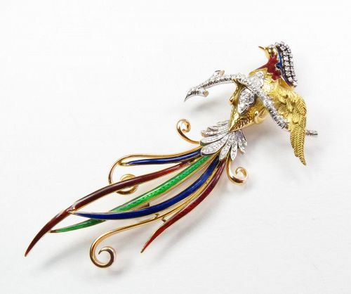 Large, 18k gold, diamond, enamel, Bird of Paradise brooch, pin