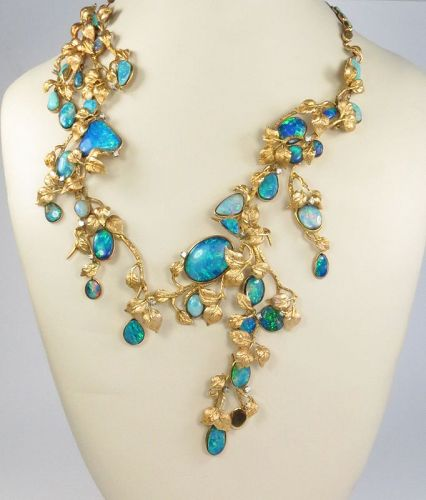 Fine, 14k yellow gold, opal  abstract necklace