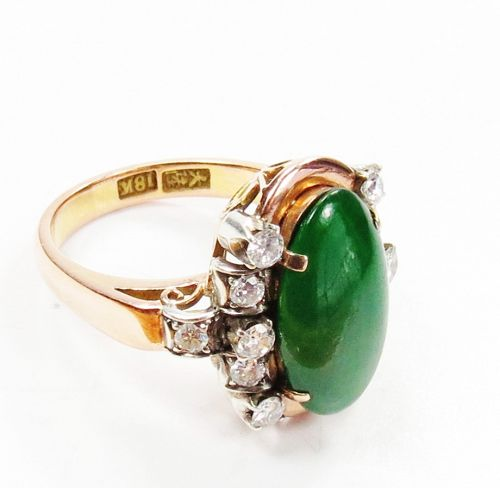 Vintage, Certified, 18k gold, natural Imperial jade diamond ring