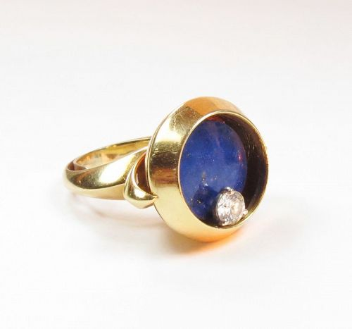 Modernist, signed, 18k gold, lapis lazuli ring with spinning diamond
