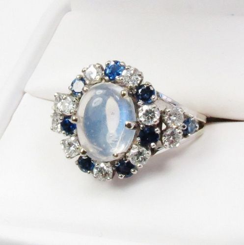 18k white gold, moonstone, sapphire diamond cocktail ring
