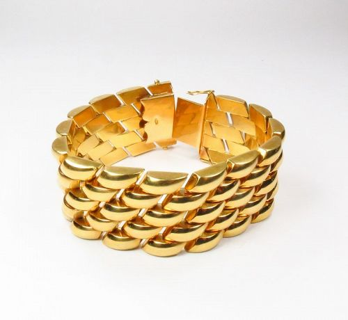 Large, Unisex, 18k yellow gold statement bracelet