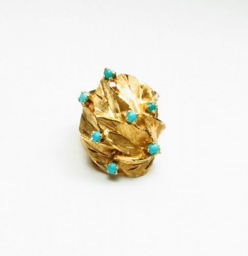 Retro, 14k yellow gold, Persian turquoise dome ring