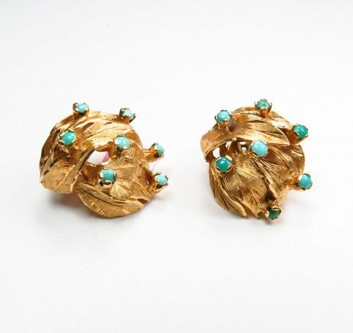 Retro, 14k yellow gold, Persian turquoise earrings