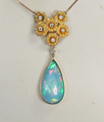 14k/18k yellow gold, natural Australian Opal, diamond necklace