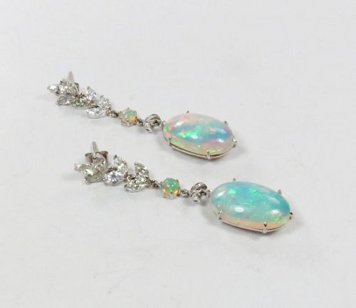 Large, 14k white gold, opal, diamond dangle earrings