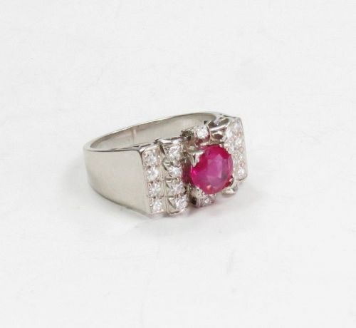 Art Deco, platinum natural ruby diamond ring