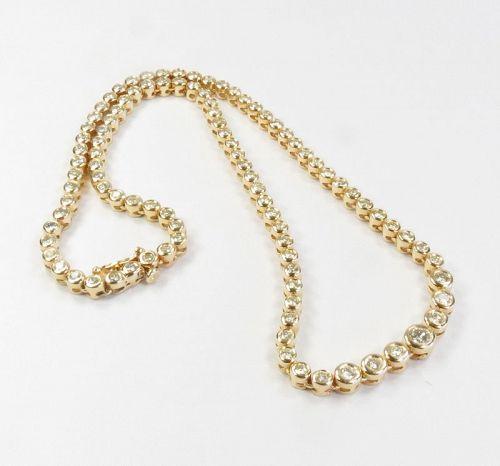 14k gold, 5.25ctw of diamonds, riviera tennis necklace