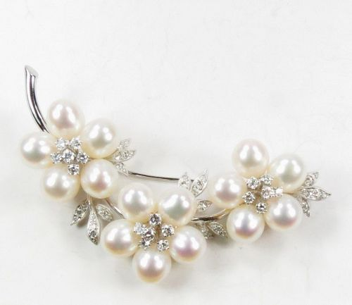 18k gold, 1.27ctw diamond, South Sea Pearl brooch, pin