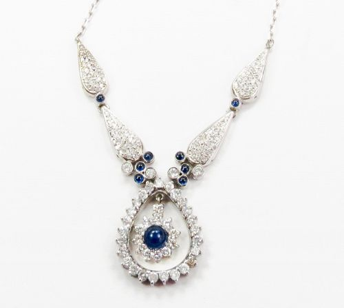 18k gold 4.25ctw diamond, natural sapphire necklace