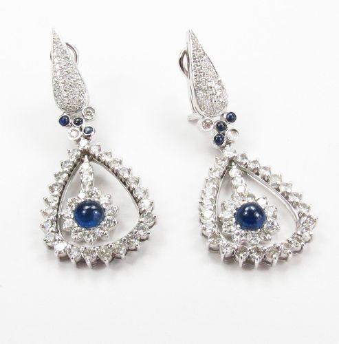 18k gold, 5.5ctw diamond, 2ctw sapphire earrings