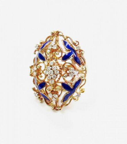 Large, antique, 14k gold 1ctw diamond blue enamel ring