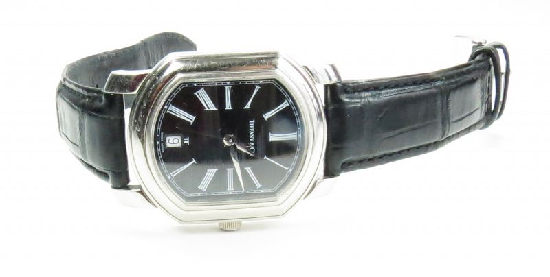Tiffany & Co. Platinum automatic men's watch with alligator strap